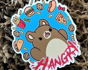 Hangry Bear Sticker ( cute chibi stickers grumpy junk food sweets )