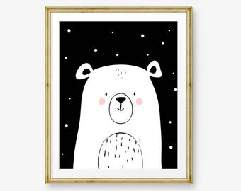 Polar Bear nursery print Black and white nursery decor Polar bear Print Nursery art Monochrome nursery print 8x10 download PRINTABLE ma