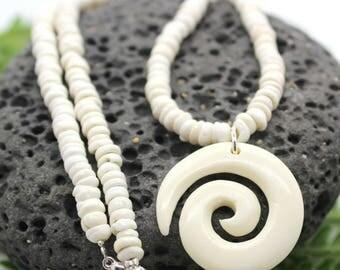 Puka Shell Necklace,  Puka Shell Necklace with Spiral Fish Hook, Beach Jewelry, Puka Shell, Puka Necklace, Shell Necklace