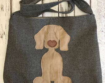 Weimaraner cross body or shoulder tote style bag in smoky brown / grey tweed woollen fabric