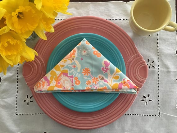 Light Blue Floral Spring Cloth Napkin