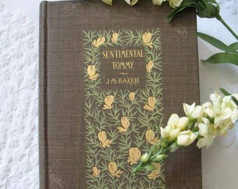Vintage Book Sentimental Tommy 1896 Decorative Artwork Cover Margaret Armstrong  J. M. Barrie Peter Pan    Library Decor WhenRosesBloom