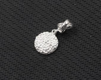12mm Sterling Silver Small Round Pendants -- 925 Silver Charms Wholesale For Bridesmaid Gift Party XXSP-S0323