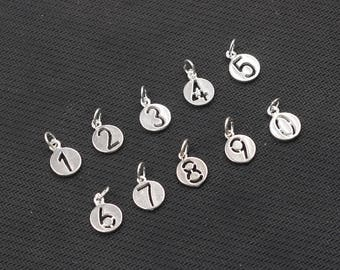 Sterling Silver Number Pendants , 10x10x1.4mm , 925 Silver Charms Wholesale For Bridesmaid Gift Party YX-Y419