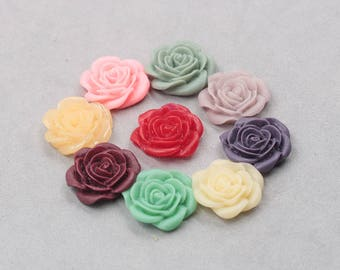 21mm Rose Resin Flower Cabochons / Mixed Lot Resin Flowers Supplies Wholesale SZ-003-5