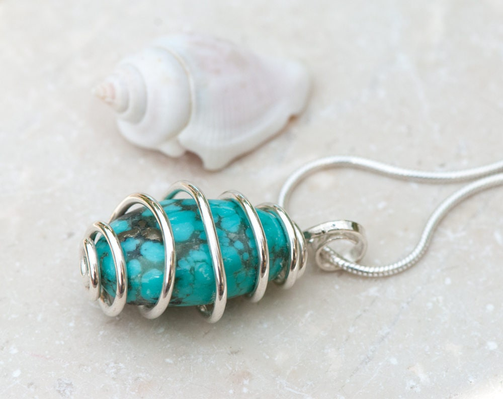 Natural Turquoise Pendant, Sterling Silver Wire Wrapped Turquoise ...