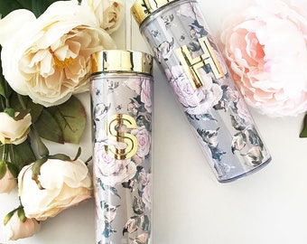 Floral Tumblers - Floral Bridesmaid Gifts - Personalized Tumblers (EB3113RSG)