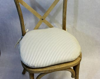 Ticking Fabric Chair Cushion, Rustic Tie Back Chair Cushion, Shabby Chic Chair  Cushion,