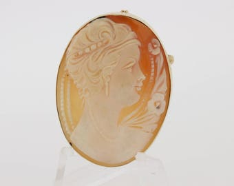 14K Gold Cameo Convertible Brooch Oval