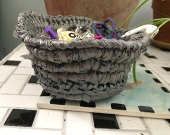 Small Gray Plarn Basket