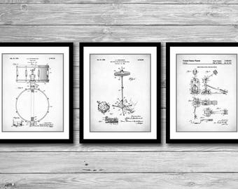 Drum Patent Posters Group of 3, Drum Patent Prints, Drummer Art, Cymbal, Snare Drum, Percussion, Wall Decor, Boys Room Decor, P533