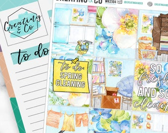 Spring Cleaning Weekly Planner Kit for No-White Space and White Space Planners  - WK03