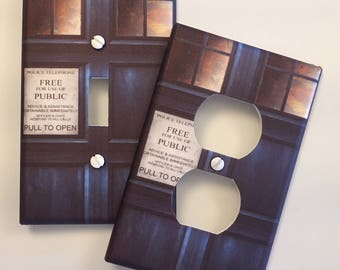 Doctor Who light switch cover Whovian Tardis Door DWAS Fandom // SAME Day SHIPPING**