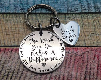 Social Worker Thank You Gift, Counselor key ring, Social Worker Gift, Counselor Gift, Counselor than you gift, gift for Social Worker