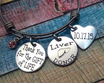 Liver Organ Donor Jewelry, Living Donor Gift, Thank you for the gift of life, Kidney donor, Liver donor, Pancreas donor, Lung Donor Gift