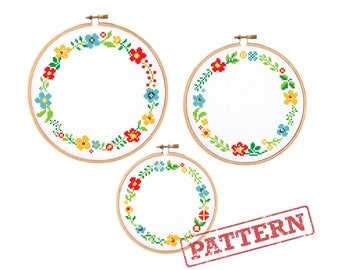Floral Circle Border Trio Set of 3 Cross Stitch Patterns