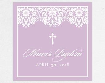 Baptism Favor Tag, Baptism Favor Label, Christening Favor Tag, Christening Favor Label, Printed, Floral, Damask, Lace, Girl, Purple, Maura
