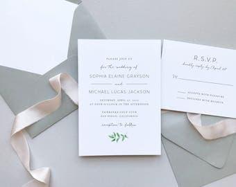 Greenery Minimalist Wedding Invitation Suite / Letterpress or Digital Printing / Simple Elegant Garden Wedding / #1123