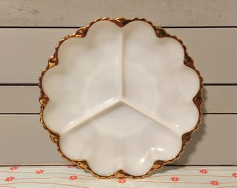 Vintage Milk Glass Divided Dish with Gold Trim, Anchor Hocking Fire King