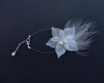 Ivory silk flower bridal bracelet pearls & feathers wedding party