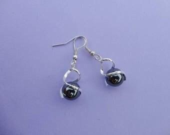 Hematite and Silver 925 hook earrings