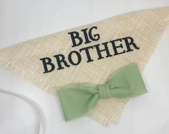 Big Brother Ivory Burlap Dog Bandana Burlap Collar with Celery Green Fabric Bowtie for Pregnancy Announcements Newborn Photo Shoot