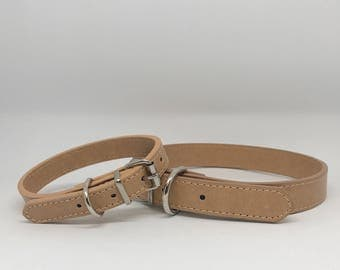 Leather Dog Collar in Tan Leather for Pet Wedding Accessory Boy Dog Collar