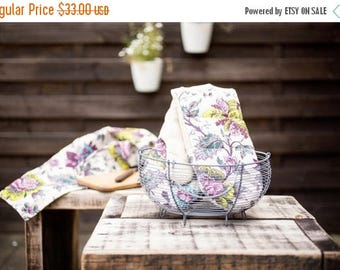 Linen Oven mitts - Linen kitchen cooking mittens with printed flowers