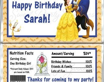 Beauty and the Beast Candy Bar Wrappers – Personalized Birthday Party Favors - Beauty and the Beast Favors - Custom Chocolate Wrappers