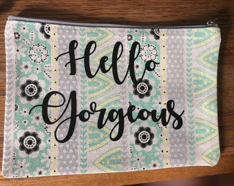 Hello Gorgeous Make up bag - cosmetic bag - hand clutch