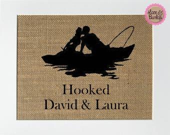Wedding Anniversary Gift HOOKED Love Boat fishing sign custom names rustic sign deco housewarming birthday gift