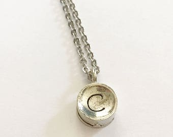 Initial necklace - Hand stamped necklace -Typewriter key - Mommy jewelry - Hand stamped jewelry - Personalized necklace