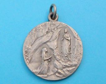 French, Antique Religious Large Pendant. Grotto of Massabielle. 1908. Saint Virgin Mary. Bernadette Soubirous Lourdes. Medal. 170509 2 I