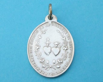 French, Antique Religious Sterling Pendant. Saint Virgin Mary, Jesus Christ, Sacred Heart. Miraculous Silver Medal. 170617 4 D