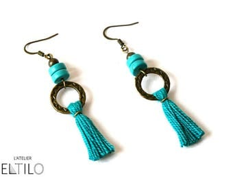 Drop earring beads and tassels turquoise / / Bohemian style earrings