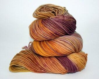 Hand-Painted DK Superwash Merino Wool Yarn - Leaves Falling in Autumn