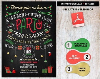 Christmas Party Invitations Instant Download, Christmas Party Invitations Printable, Christmas Invitation Template,Christmas Invitations PDF