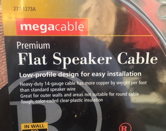 Electronic cables vintage etsy uk new old stock radio shack megacable flat 14 gauge 50 feet speaker wire cable greentooth Image collections