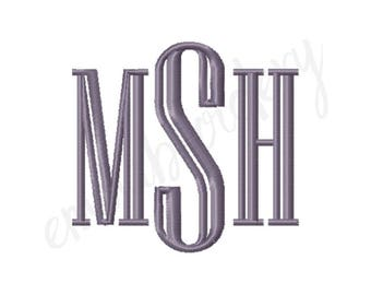 "7 Sizes Engraved Monogram Machine Embroidery Font - 1"" 1.5"" 2"" 2.5"" 3"" 3.5"" 4"" - 8 File Formats PES JEF DST - Satin Stitch Instant Download"