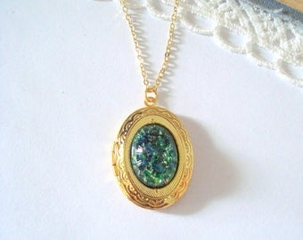 Green Fire Opal Locket, Glass Opal Locket, Vintage Glass Opal, Harlequin Fire Opal, Layering Necklace, Gift for Her
