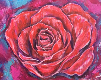 Rose floral painting 20 cm