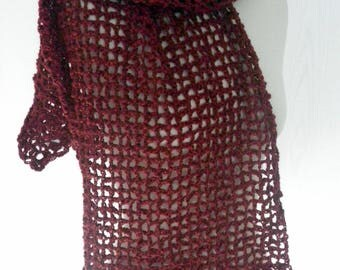 Burgundy scarf crochet for cool evenings