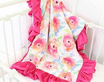 Bright Summer Blooms Floral Satin Ruffle Baby Blanket | Dark Pink Ruffle Watercolor Floral Baby Girl Nursery Blanket