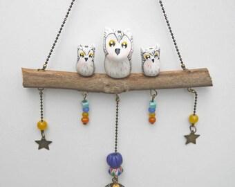 Mobile bijoux décoratifs trio de hiboux