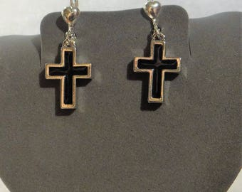 "GUESS, Heart Dangle/ Drop, Black & Silver Cross, Silver, approx. 1/2""  Drop,  DK"