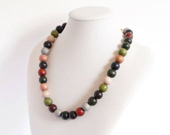 wooden necklace, wooden round beads necklace, wooden round beads, handmade necklace, ethnic necklace, autumn necklace, autumn colors