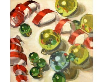 """Colors of Christmas 12""""x12"""" original oil painting"""