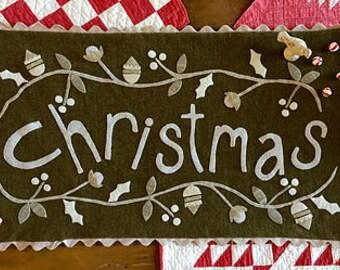 "Primitive Christmas Wool Applique ""Christmas Coverlet""  Pattern"