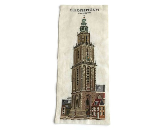 Embroidered wall hanging of church steeple, Martinitoren in Groningen, The Netherlands, continental stitch, hand embroidered, 19 x 8 ins