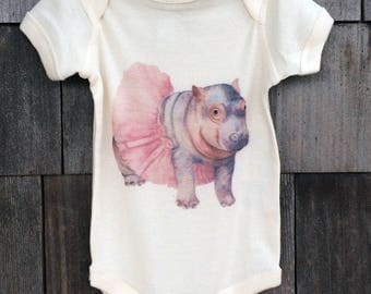 Watercolor Baby Hippo Baby Bodysuit
